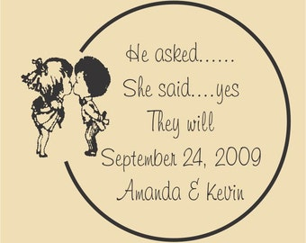 Kissing Couple Save the Date Custom - Rubber Stamp - Design WR002