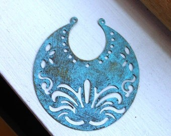 moon pendant, VERDIGRIS antique bronze small tribal crescent moons WHOLESALE 50 pcs, ethnic pendant