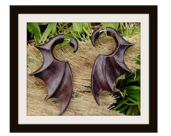 Bat Wings wood Fake gauge earrings,Hand Craved, Natural  Wood ,tribal style, Split Gauge Earrings ,Sprial,organic,natural