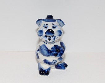 Vintage Russian Gzhel Blue & White Ceramic Piglet, Hand Painted
