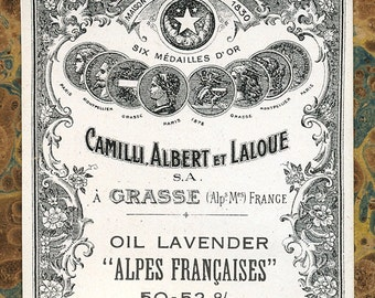 Antique Vintage French Apothecary Perfume Label 10