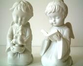Vintage White Angels Kneeling
