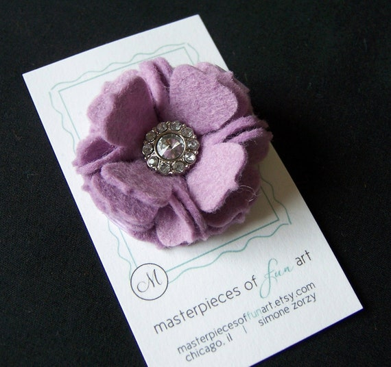 Lavender Felt Carnation Flower Hair Clip with Rhinestone Gem Center - Lilac Felt clippies - Flower hair clips - Fall and Autumn