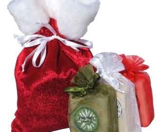 Santa's Satchel of Soap Gift Set - Handmade Cold Process Soap Bars - Limited Holiday Edition
