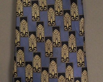 Designer PETER THOMAS  Neck TIE Silk Satin  Design stylized Lotus design 1980s blue silver black 60in