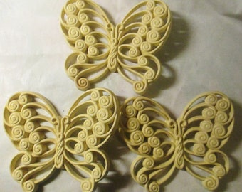 3 Burwood Thick Plastic Vintage 1970s Butterfly Wall Hangings in Off White