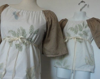 Mommy and Me Matching. Mommy and Me Clothing. Mother & Daughter.  Peasant Top and Peasant Dress. Upcycled Clothing.