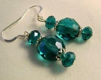 Emerald Green Earrings Sterling Silver  Faceted Crystal  Earrings St Patricks Day Irish