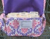 Mega Coupon Organizer Purple and Pink Damask Heavy Cotton Duck Fabric Purple Lining