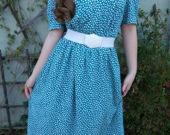 Vintage 80's Day Dress. Secretary Dress. Turquoise and White. Summer Dress.