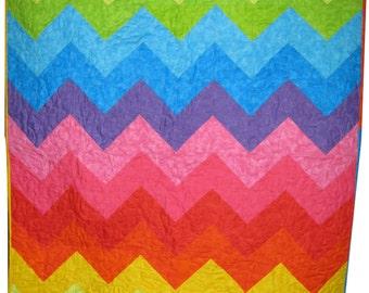 Chevron Lap Quilt in Bright Rainbow