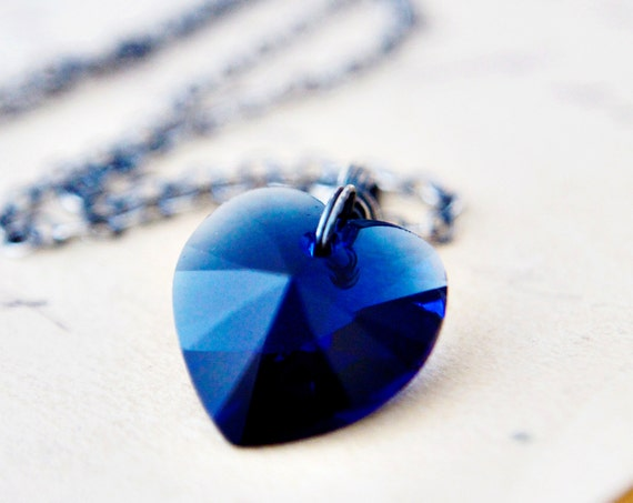 Navy Blue Heart Necklace Crystal Silver Sapphire Pendant