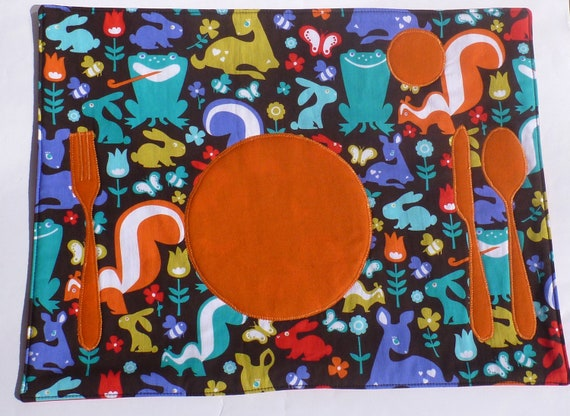 Set the Table Placemat Montessori Fun Educational Woodland Friends Place Mat by BonTonsGifts on Etsy
