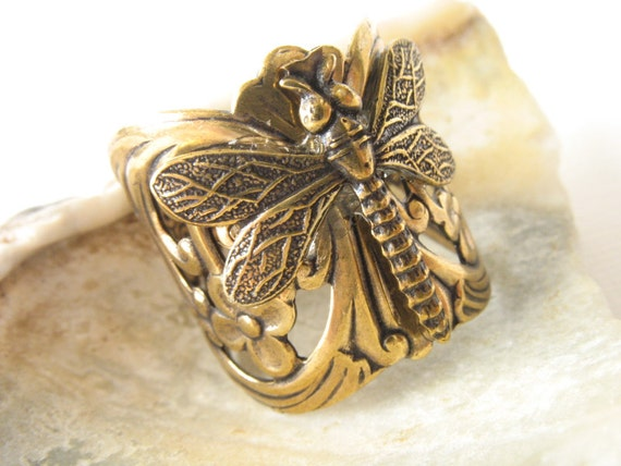 Dragonfly Ring, Gold, Adjustable, Nature-Inspired, Woodland, Handmade, Jewelry, dragonfly, Santa Cruz