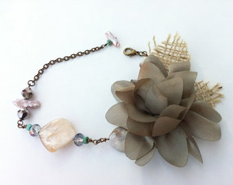 Taupe Flower and Pearl Bracelet
