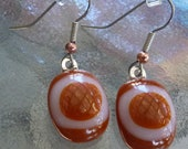 Burnt orange and white earrings // fused glass earrings //  longhorn colors