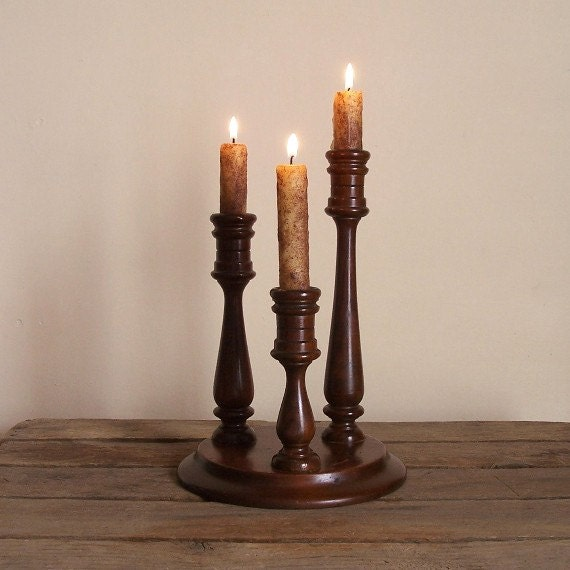 Vintage Candelabra / Turned Wood Detail / Three Handmade Grubby Candles / Color Choice