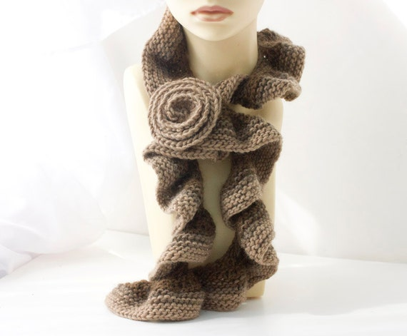 Ombre Brown Ruffled Scarf with Rose Scarf Pin,  Alpaca Wool Ruffle Scarf, Women's Winter Accessoreis