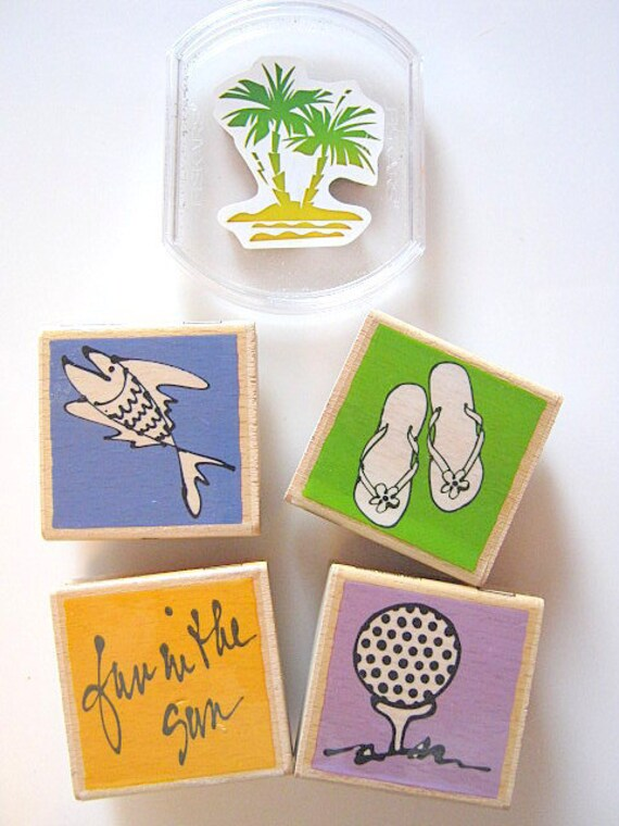 Set of 5 Wooden Rubber Stamps Vacation Fun Card Art