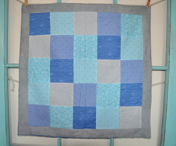 "Car Seat Quilt - 28"" x 28"" - Nautical Blue and Grey"