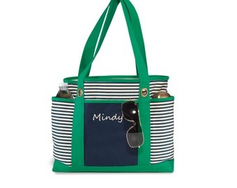 Sale Canvas Tote Bag Monogram Striped Nautical Stripe - Green and navy