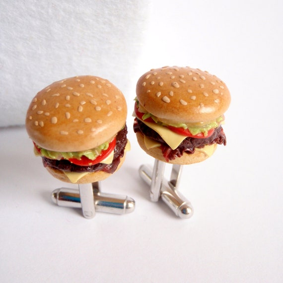 Double Cheeseburger with Bacon Cufflinks - Miniature Food Jewelry Collectable - Schickie Mickie Original 100% Handmade
