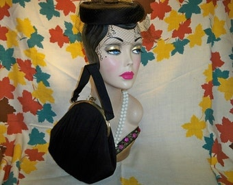 Vintage 1940s Black Cocktail Hat and Evening Bag Purse