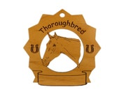 8310 Thoroughbred Horse Head 2 Personalized Wood Ornament