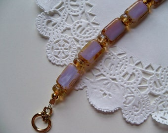 LAVENDER and BROWN Czech/Glass Bracelet/VALENTINE Jewelry/Czech Glass Bracelet/Amethyst Bracelet