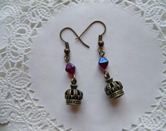 Brass CROWN Earrings/Crown Dangle Earrings/Royalty Earrings/Princess Earrings/Queen Earrings