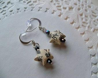 Sale - ORIGAMI STAR Earrings/Origami Earrings/Asian Earrings/Paper Star Earrings