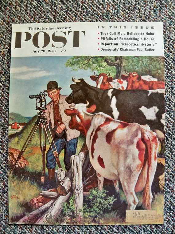 Vintage - SATURDAY EVENING POST Cover - July 1956 - Surveyor in Cow Field