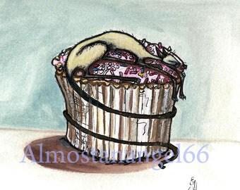 Cat on a cake - Siamese Cat Art Print - 8 x 8 inch