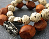 Set of Two Beaded Stretch Bracelets with Wood and White Paper Beads: Chase