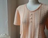 Vintage Subtle Peach Knitted Sweater Quaint Bohemian L