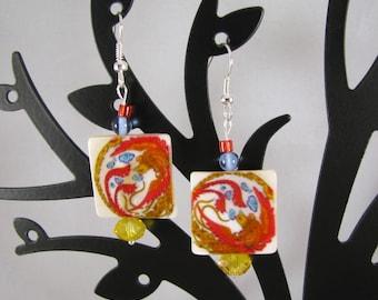 Shell tile phoenix with Czech crystal sterling dangle earrings