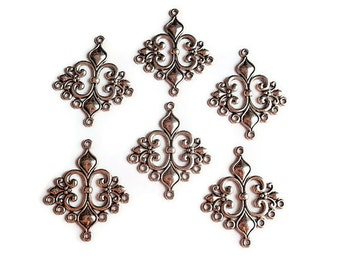 6 Links, Finding Supply, 6 Filigree Diamond Shape Chandelier Components, Antique Silver Colored, 32mmX23mmX3mm