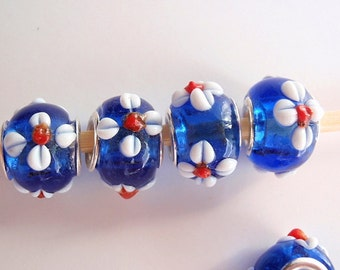 7 beads, Handmade Lampwork European Style Beads, Jewelry making Supply, rondelle for European style bracelets