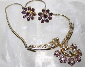 50s CORO Lavalier Rhinestone Amethyst Flower Necklace & Earring  SET,  Mad Men Era, Special occasion, Maid of Honor, Bride