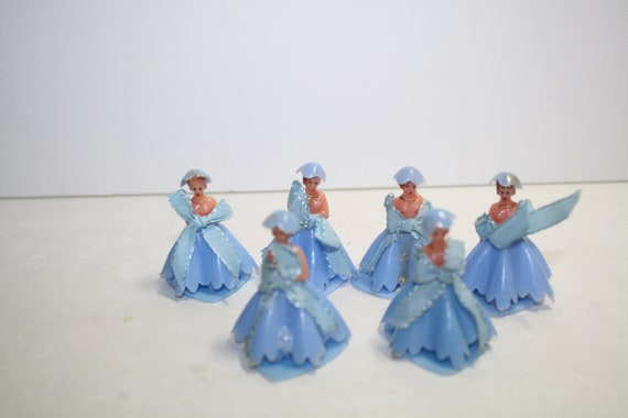 1950s 6 BLUE Vintage Bridal Cake decorations, cupcake decorations Ladies,  brides maids, Mad men era.