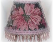 Shabby Cottage Chic Decor Pink Poinsettia NIGHT LIGHT with Lt Pink Beading
