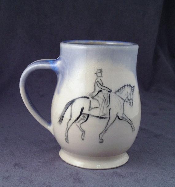 Dressage Horse and Rider Mug- Paradise Blue