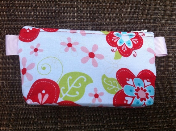 RedAqua Flowers Small Pouch