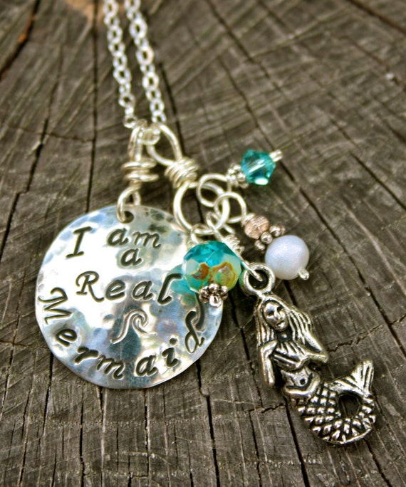 I Am A Real Mermaid Necklace Hand Stamped Sterling Silver