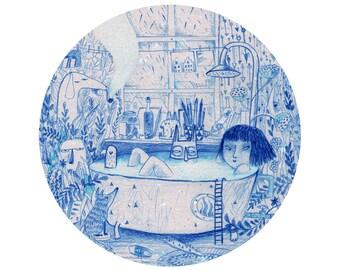 Blue bath A4 print, round circle illustration print