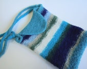 Ocean Hues Striped Felted Wool Purse