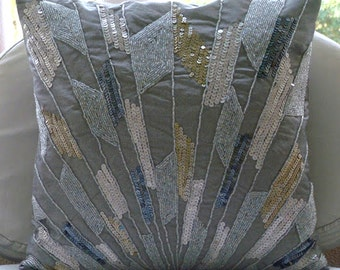 """Handmade Silver Decorative Pillow Cover, 16""""x16"""" Silk Pillows Cover, Square  Geometric Sequins & Beaded Glitter Pillows Cover -Silver Glamor"""