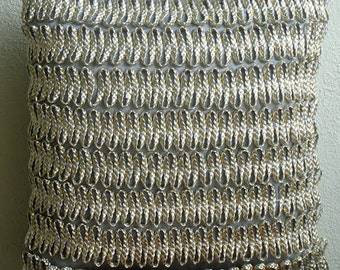 """Handmade Silver Throw Pillow Covers, 16""""x16"""" Faux Leather Pillowcase, Square  3D Metallic Cord Throw Pillows Cover - Silver And Gold Twists"""