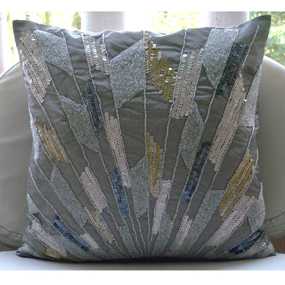 Handmade silver decorative pillow cover 16x16 - Decorative throw pillows ...