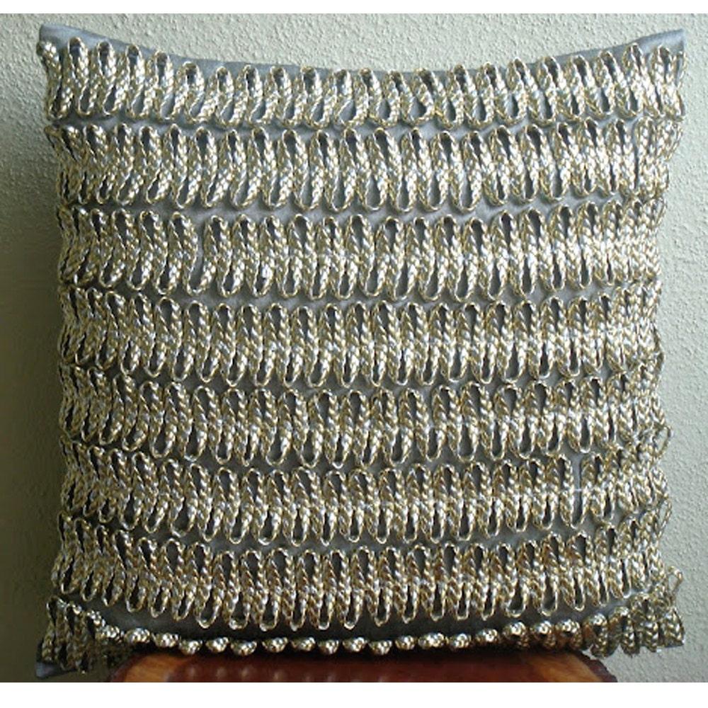 Handmade 3D Metallic Cord Throw Pillows Cover Silver Throw
